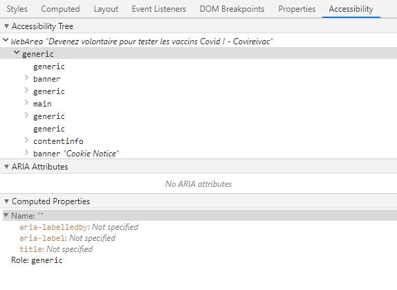 Capture d'écran de l'onglet Accessibility du DevTools
