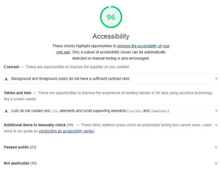 Capture d'écran de l'audit d'accessibilité du site covireivac.fr. Score de 96